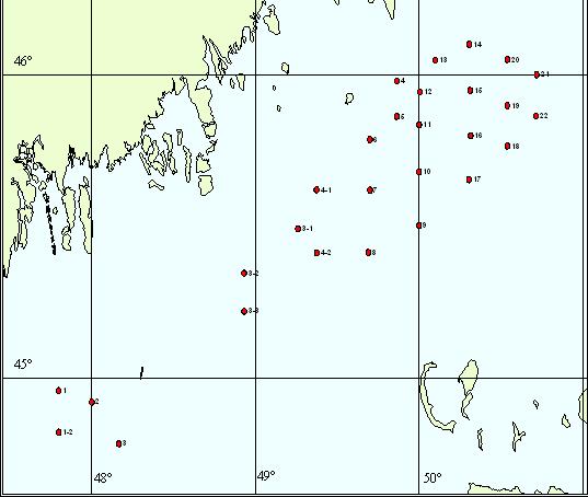 Динамика изменения значений индекса загрязненности морской воды акватории Северного Каспия с 2001 по 2004 год